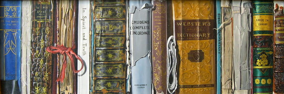 Antique Books. Oil on masonite 