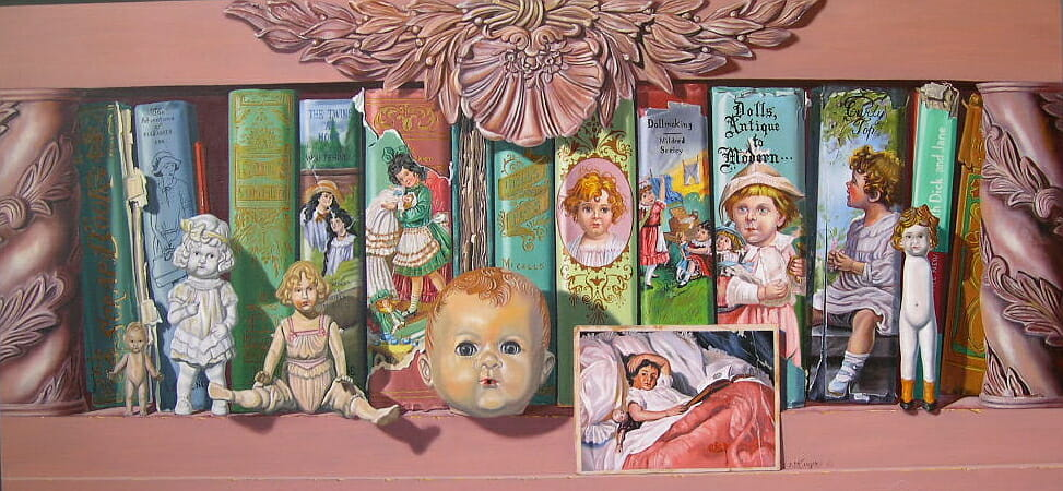 Nostalgic books with antique dolls.