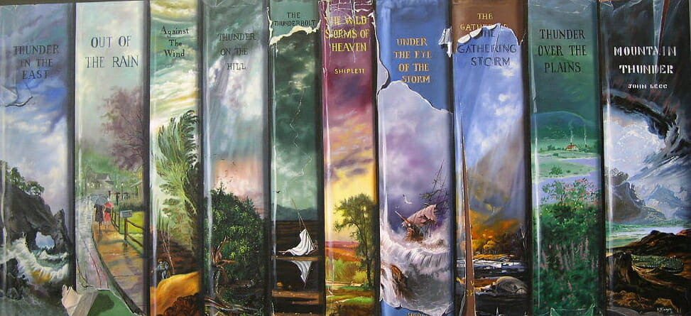 Adventure books, oil on masonite © Sharon Craven Kinzer