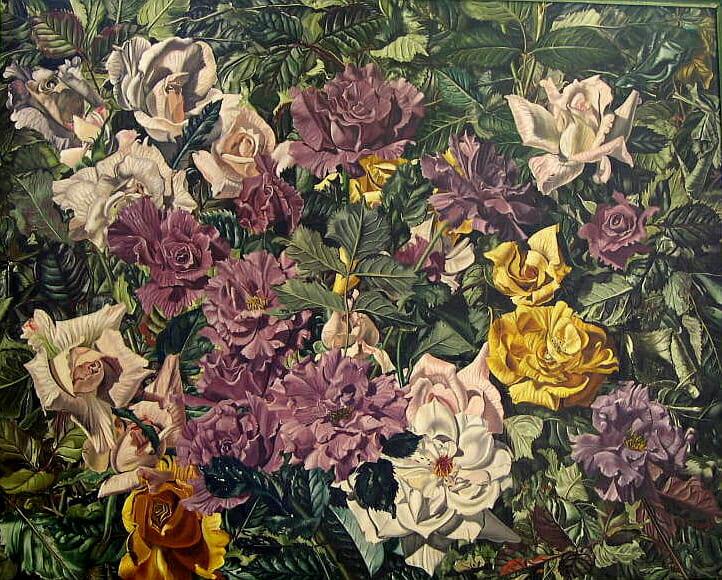 "Roses, Oil, 19.5""x 20.5""  © Sharon Craven Kinzer"