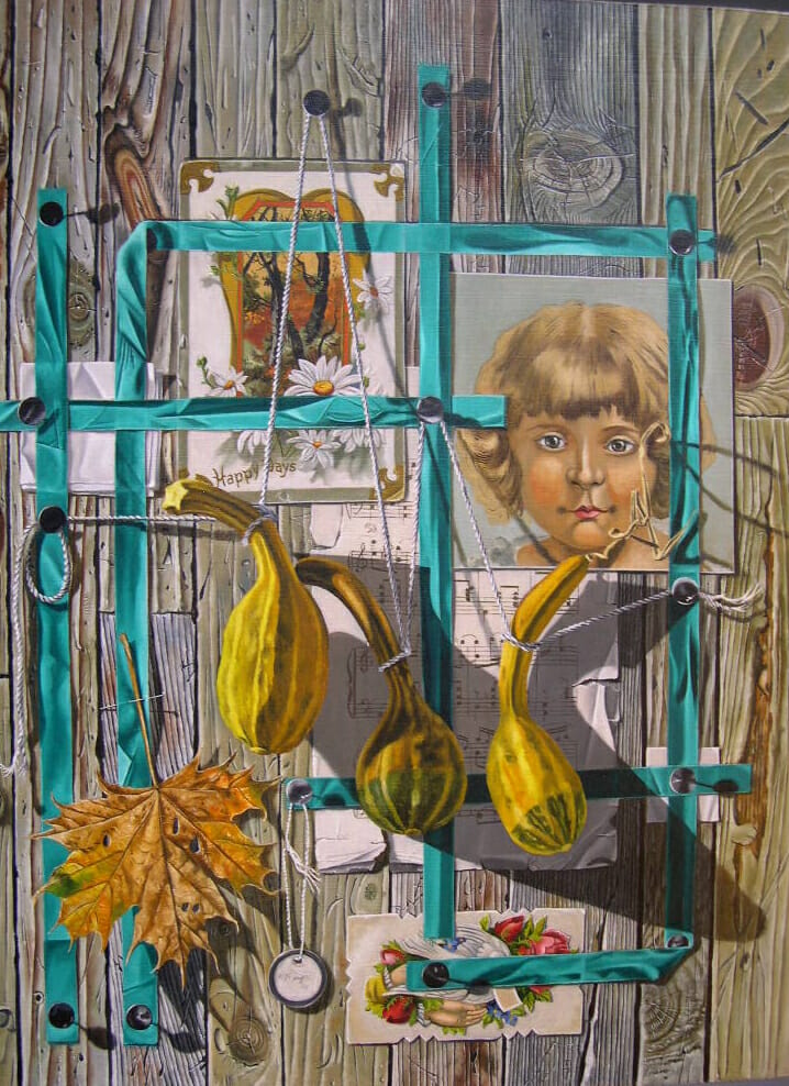 Trompe l'oeil painting with ribbon, squash, sheet music, and other images.