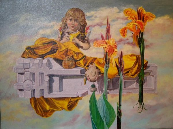 A cherub, orange irises, and toy cats against a blue and pink sky.